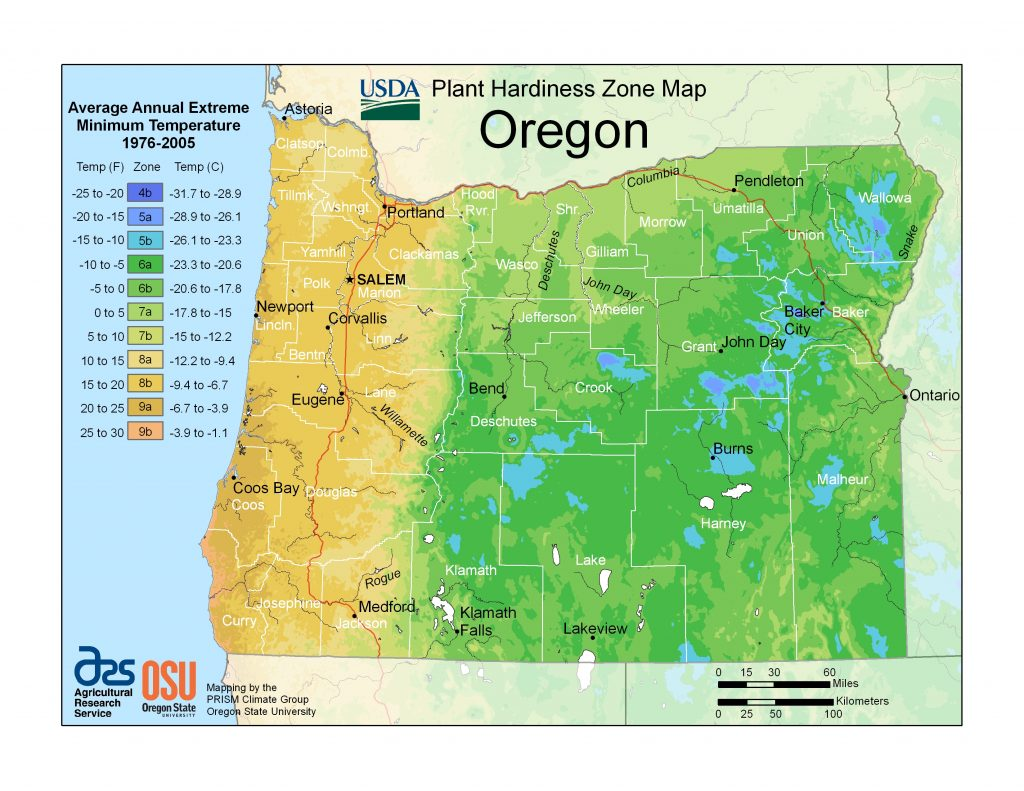 USDA Plant Hardiness Zone Map Oregon